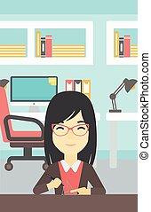 Woman using three D pen vector illustration. - An asian...