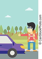 Young man hitchhiking vector illustration - An asian young...