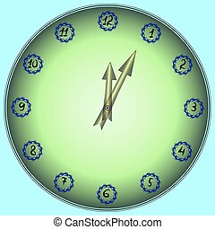 Flower Clock. Floral ornament in the form of a clock face with hands, pale green background.