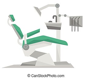 Dental chair with instruments and tools. - Dental chair with...