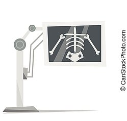 X-ray machine with image of skeleton - X-ray machine with...