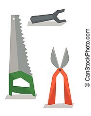 Saw, pruner and wrench vector illustration - Saw, pruner and...
