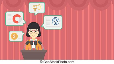 Female speaker on the podium vector illustration. - An asian...