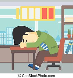 Man sleeping at workplace vector illustration - An asian man...