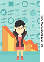 Bankrupt clutching her head vector illustration - An asian...
