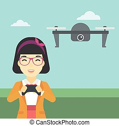 Woman flying drone vector illustration - An asian woman...