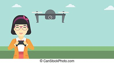 Woman flying drone vector illustration. - An asian woman...