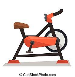 Stationary exercise bike vector illustration.
