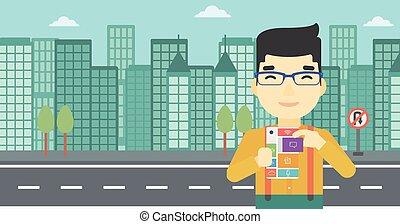 Man with modular phone vector illustration - An asian man...