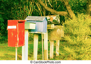 Old letterbox line up - Reto style image old letterbox line...