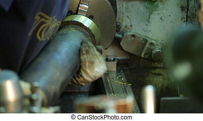 Operator milling machine with gloves fix metal detail....