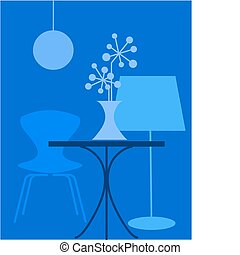 retro interior in blue colors, vector illustration