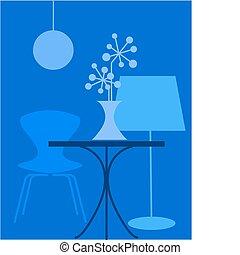 retro interior in blue colors, vector illustration