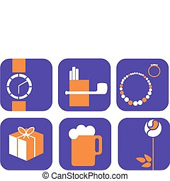Vector icons set - gifts and shopping ; purple background