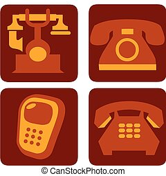 four vector phone collection on brown background -1