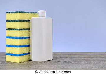 Dishwashing Detergent - A close up studio photo of...