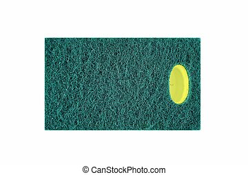 Dishwashing Sponge - A close up studio photo of a...