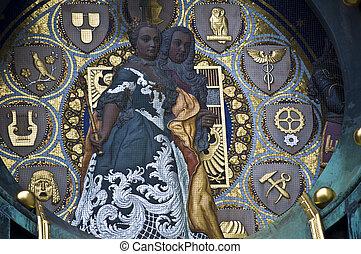 Ankeruhr - detail of the famous Jugendstil Ankeruhr in...