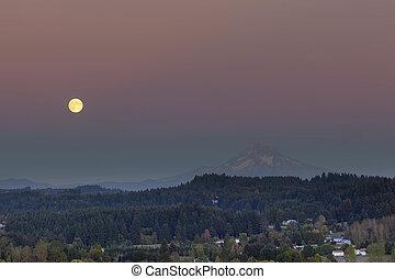 Full Moon Rising Over Mount Hood - Full moon rising over Mt...