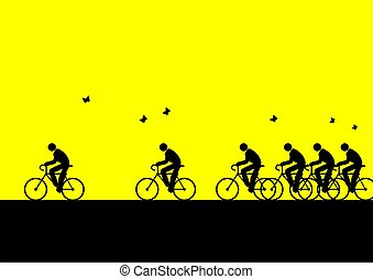 Reduce Pollution - Iconic figures cycling to go to work