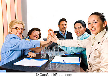 United business people team high five - Group of business...