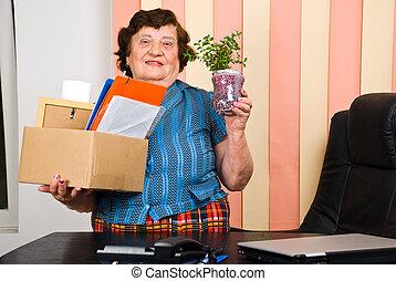 Elderly woman retire