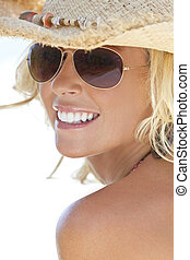 Sexy Blond Girl In Aviator Sunglasses and Straw Cowboy Hat -...