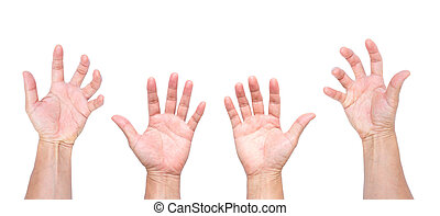 Man hands, open hands, hands grabbing isolated on white...