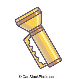Yellow flashlight Vector Illustration Isolated on White