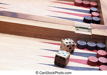 Board game - Wooden handmade backgammon board with chips