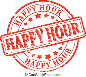 Damaged red stamp with the words - Happy hour - vector -...