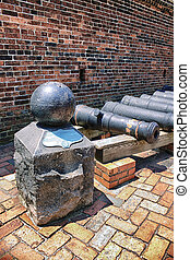 War of 1812 Cannon Ball and Cannons - Line of cannons, Fort...