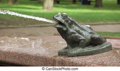 Figure of frog in fountain - Part of fountain in form of...