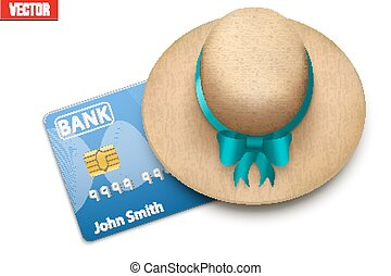 Summer vacation with a credit card closed cap. Background of...