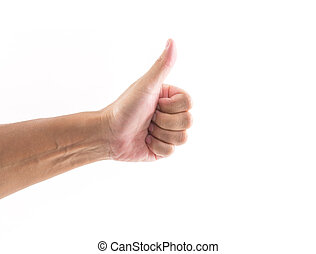 Hand thumb up on white background