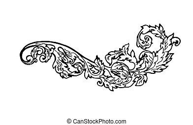 Vintage floral design element. Decorative element at engraving style.