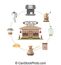 Set of icons coffee devices in flat style - vector illustration. Set for coffee shop.