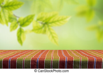 Tablecloth with blur bokeh background - Empty table and...