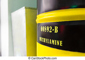 Barrel with methylamine - Big yellow barrel with methylamine
