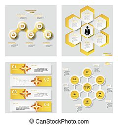 Collection of 4 yellow template. - Collection of 4 yellow...
