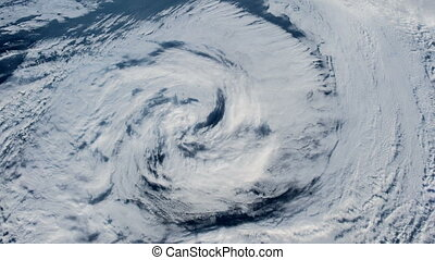 The hurricane over the ocean, satellite view - Hurricane...