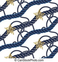 Marine navy blue rope knot seamless pattern with gold star...