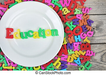 Education word on plate