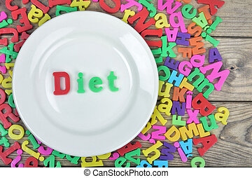Diet word on plate - Diet word on white plate and magnetic...