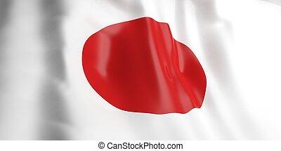 3D, fazendo, Japão, bandeira
