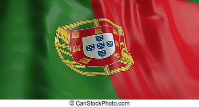 3D, fazendo, PORTUGAL, bandeira