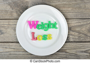 Weight loss on plate - Weight loss word on white plate