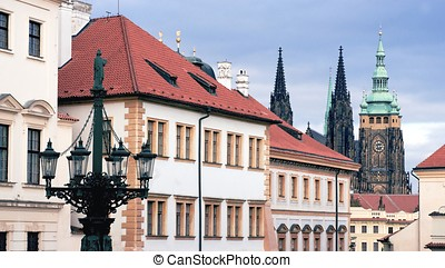 Prague Hradcany - View of Prague in Hradcany district in...