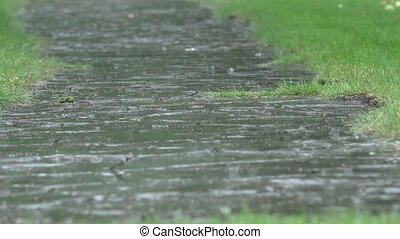 Heavy rain water drops falling on garden stone path and...