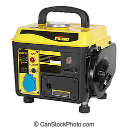 portable generator, electric power plant isolated on white